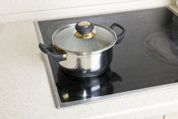 Pan on electric stove
