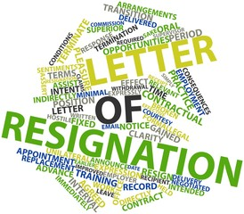 Word cloud for Letter of resignation