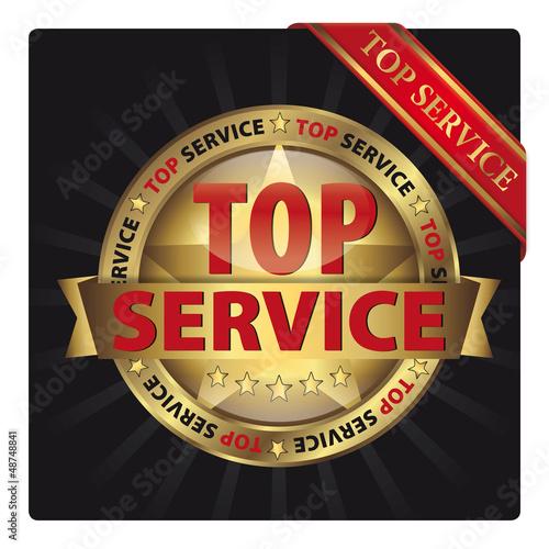 Top Service - Goldvignette mit Schleife