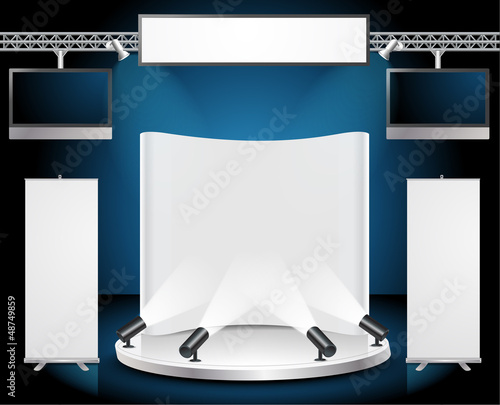 Vector Blank trade exhibition stand with roll up banner