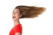 Pure Lebensfreude - Frau im Wind isoliert