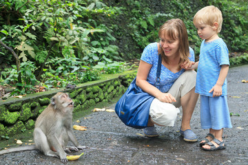 mother and son feeding wild monkey