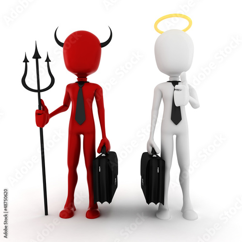 3d man businessman angel and demon