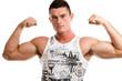 handsome man showing biceps