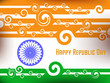 abstract illustration of Indian flag with swirl pattern in grey