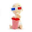 baby 3d cinema glasses on black background