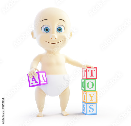 baby 3d alphabet blocks on a white background
