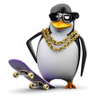 Penguin rapper hangs back with his skateboard