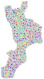 Map of Calabria - Italy - in a mosaic of harlequin bubbles