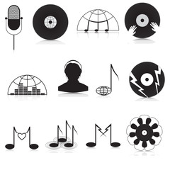 Set of black and white music Icons
