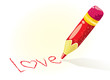 Vector colorful pencil writing LOVE