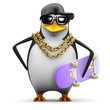 Penguin rapper holds his skateboard