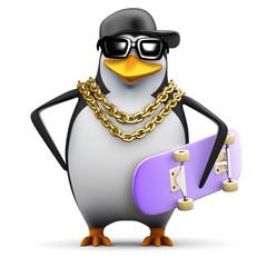 Penguin rapper holds his skateboard