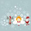 santa, angel and reindeer