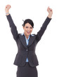 Happy cheering businesswoman winning
