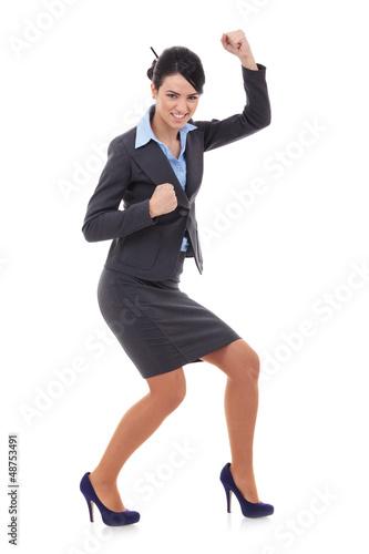 businesswoman winning over white