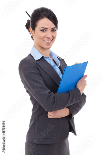 business woman  holds  notepad
