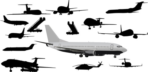 set of planes isolated on white