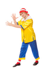 clown in a pinocchio suit