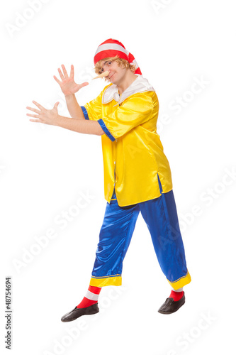 clown in a pinocchio suit