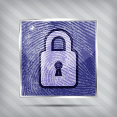 Padlock on the finger print background