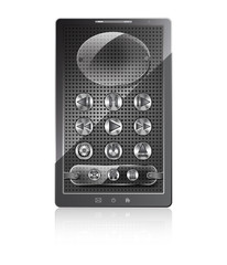 Mobile phone with stylish multimedia metallic knob buttons on a