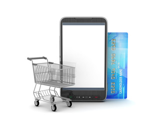 Mobile phone, shopping cart and credit card