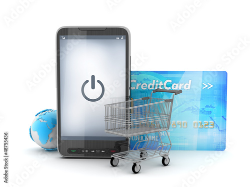 Mobile technology in shopping - concept illustration