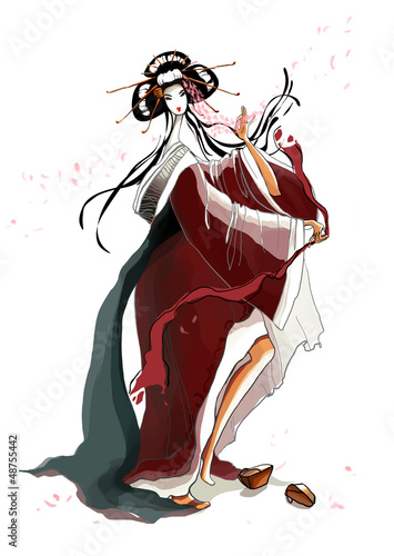 Dance of the Young Geisha on White Background