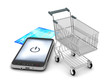 Mobile phone, shopping cart and credit card on white background