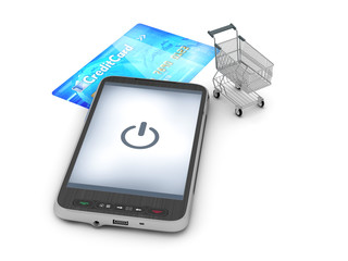Mobile technology in shopping - abstract illustration