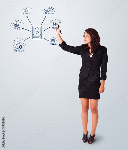 Woman drawing social network icons on whiteboard