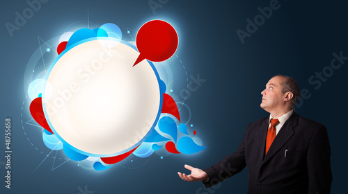 businessman presenting abstract modern copy space