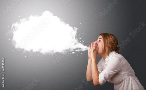 Young woman with abstract modern speech bubble