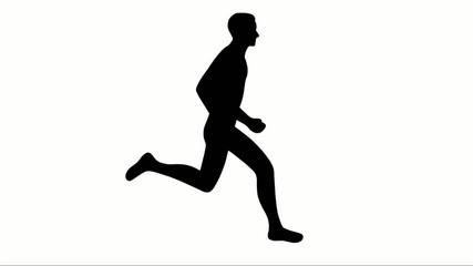 2D-Animation eines Läufers – freigestellt, schwarz-weiß und Loop