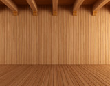 Fototapety Empty wooden room with ceiling beams
