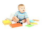 Little boy with multicolor books, isolated on white