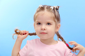 cute little girl, on blue background