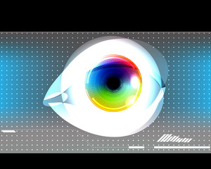 Eye, colorful iris, visual technology