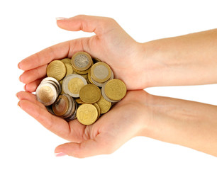 Woman hands with coins isolated on white.