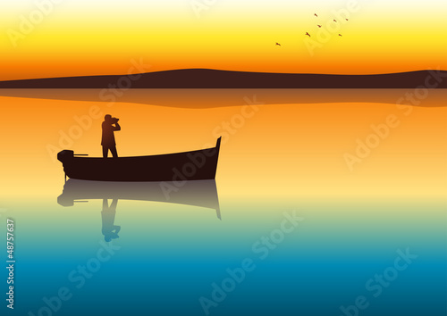 Silhouette illustration of a man with binoculars on a boat