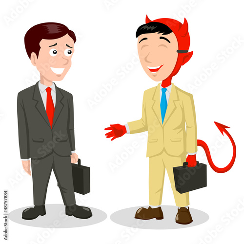 Cartoon illustration of the devil wearing a mask