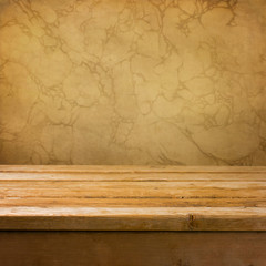 Background with empty wooden deck table over brown wall