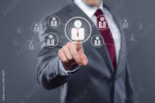 Man with Touchscreen Network / Human Resources
