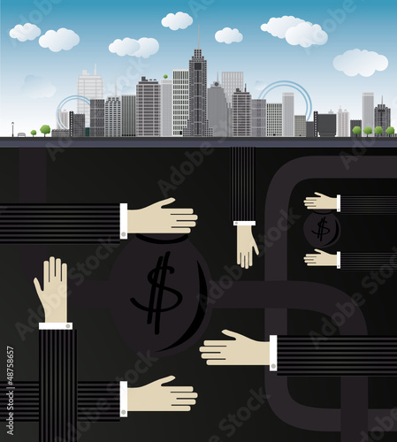 shadow economy illustration. Hand, giving money