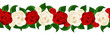 Vector horizontal seamless background with red and white roses.
