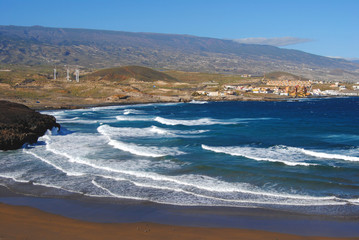 Tenerife panoramic view, beach and mountains.Canaries island