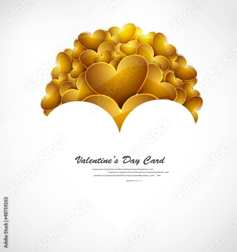 Valentines day shiny golden hearts vector illustration