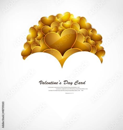 Valentines day shiny golden hearts vector illustration