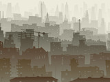 Abstract illustration of big city in dusk.